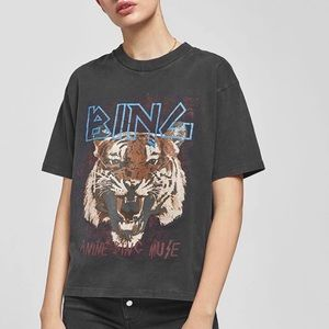 Anine Bing Tiger Tee Graphic T-Shirt Black XS